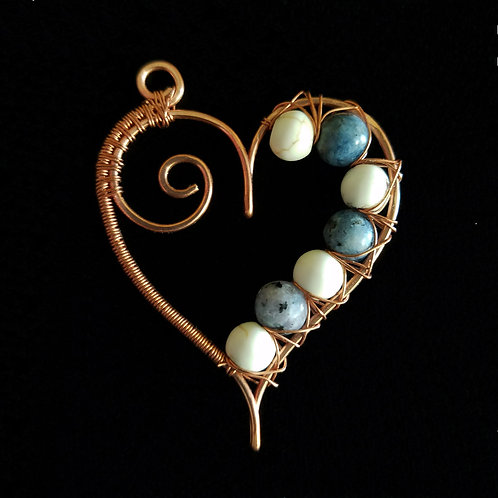 Wrapped Copper Heart w/ Blue and White Stones