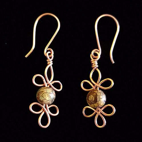 Copper Celtic Earrings w/ Stones