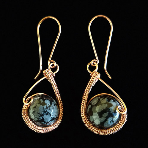Woven Teardrop Earrings w/ Black and Grey Stone