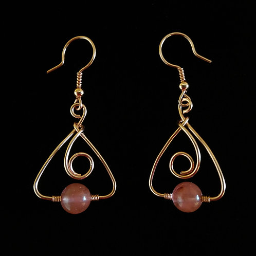 Triangular Swirl Earrings w/ Stone
