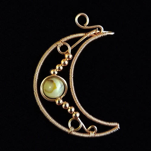 Wrapped Moon w/ Copper Beads and Stone