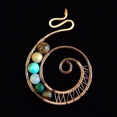 Woven Copper Nautilus w/ Multi Color Stones