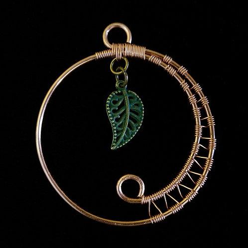 Woven Green Leaf Copper Pendant