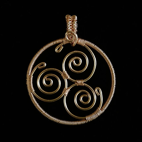 Wrapped Copper Spiral Pendant