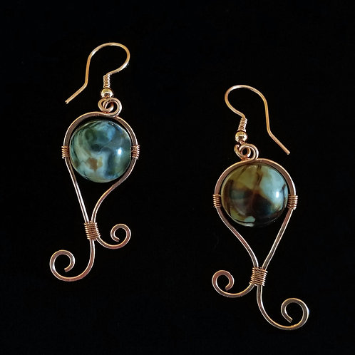 Freestyle Copper Earrings w/ Large Calico Stones