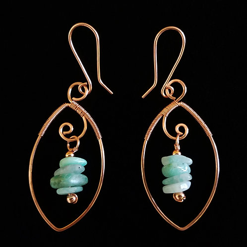 Wrapped Copper Leaf Earrings w/ Hanging Stones