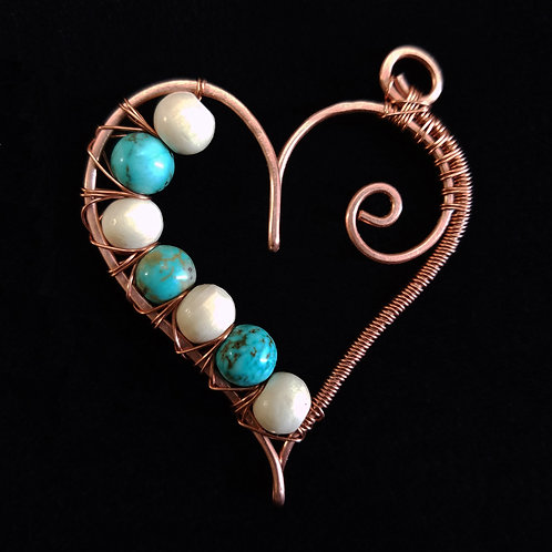 Wrapped Copper Heart w/ Turquoise and White Stones
