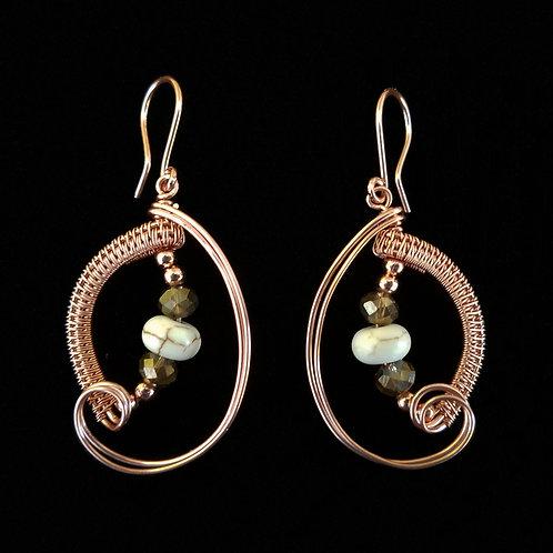 Modified Woven Leaf Earrings w/ Swirl and Stones