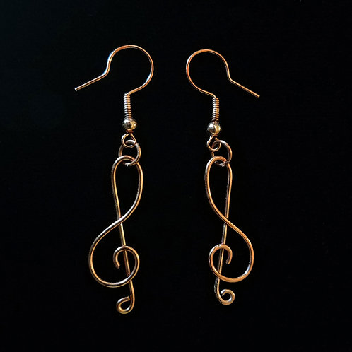 Copper Music Staff Earrings