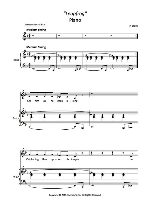 "Piano booklet for ""In The Gap!"""