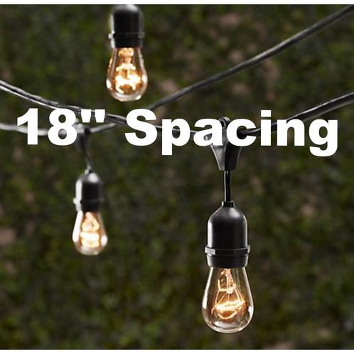 Vintage Patio String Lights W/ Clear Glass Edison Bulbs 18u0027u0027 Spacing