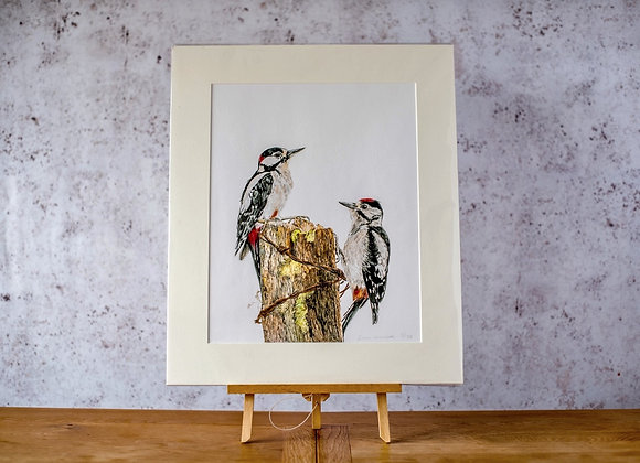 """""""Great spotted woodpecker study"""" limited edition giclee print"""