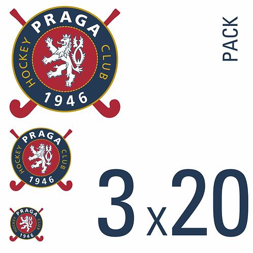 Sada samolepek logo HC 1946 Praga 3x20 pack