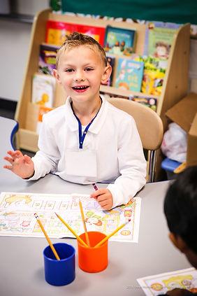 Kindergarten student at work