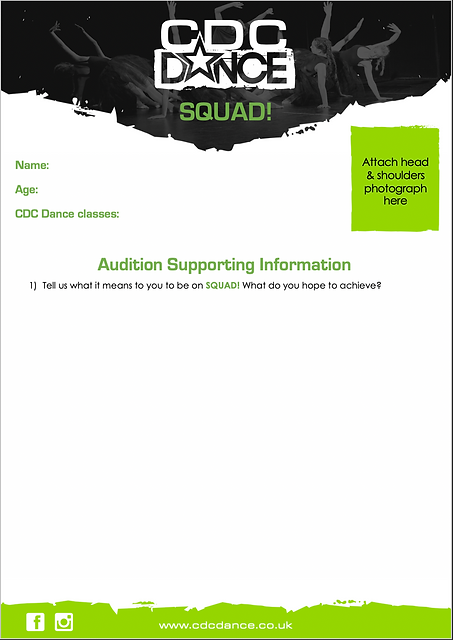 CDC Dance SQUAD! audition supporting information