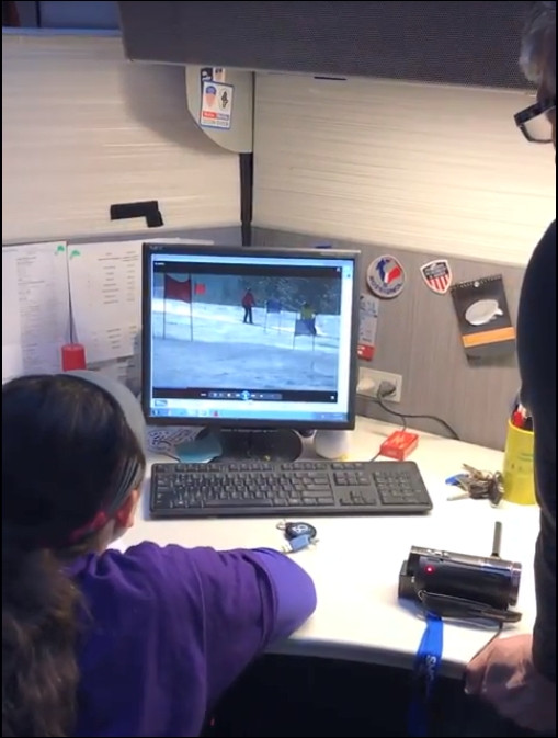 Abby watching video of us skiing with Russ