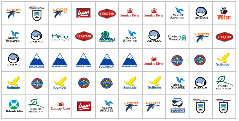 50 ski area logos in order of how we skied them
