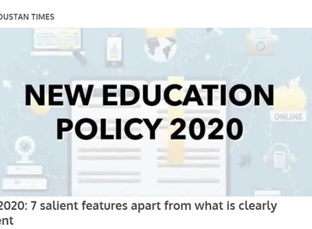 Analysis of National Education Policy 2020 by Dr Vaneeta Aggarwal in Hindustan Times e-paper