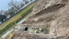 Construction progress on White Oak Bayou
