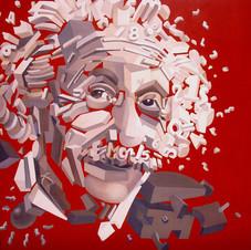 Einstein,  red background