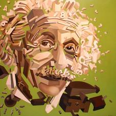 Einstein,  green background