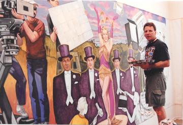 Working in the Studio, Cinemark Mural.pn