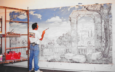 %22Tuscan Fantacy%22 canvas mural in pro