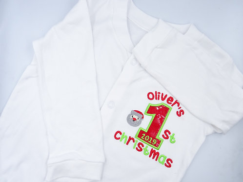 Personalised Name Number Christmas Sleepsuit