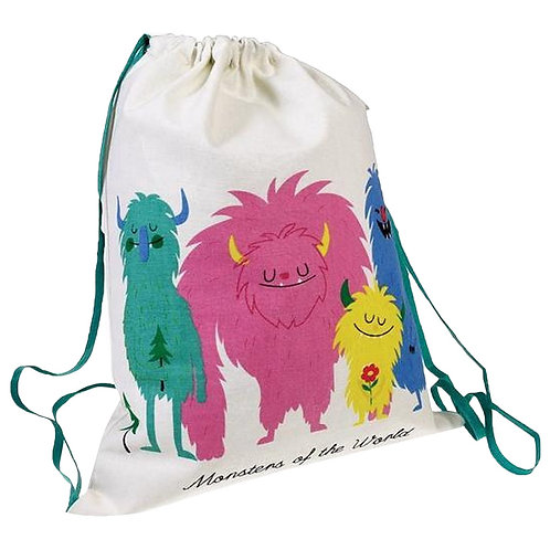 Personalised Embroidered Drawstring Bag - Monsters of the World - Add Name