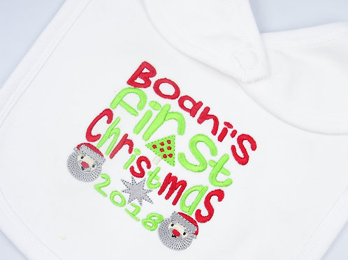 Personalised Name First Christmas with Tree, Santas and Star Bib