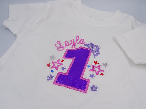 Personalised Birthday Number with Tiara T-Shirt
