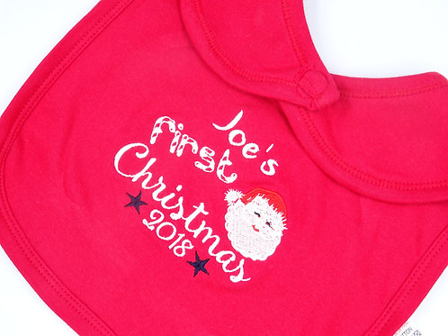 Personalised Name First Christmas with Santa Bib