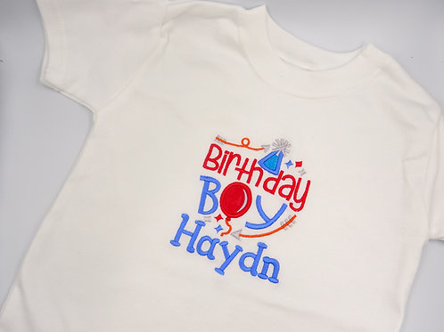 Personalised Birthday Boy With Balloons T-Shirt