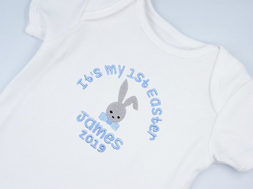 Personalised Embroidered It's My 1st Easter Bunny Baby short sleeved vest