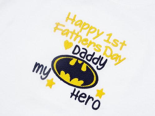 Batman Happy 1st Fathers Day Daddy Long Sleeved Vest