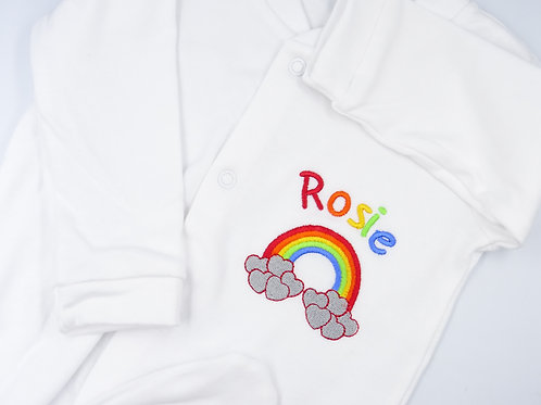 Personalised Rainbow Motif Baby Sleepsuit - Add Any Name