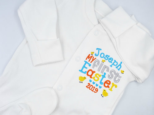 Personalised Embroidered My First Easter Unisex Baby Sleepsuit