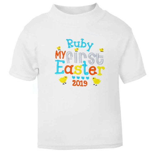 Personalised Embroidered My First Easter Unisex Baby T-shirt