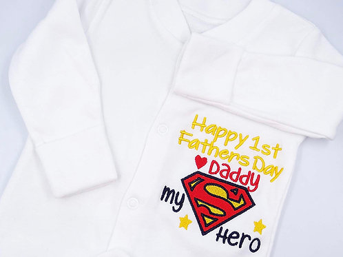 Embroidered Unisex Baby Sleepsuit - Happy 1ST Fathers Day Daddy -Superman design
