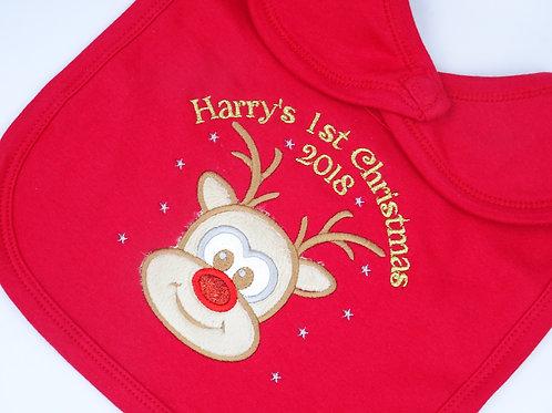 Personalised Christmas Baby Bib - Luxury Applique Reindeer Bib - Add Name & Year