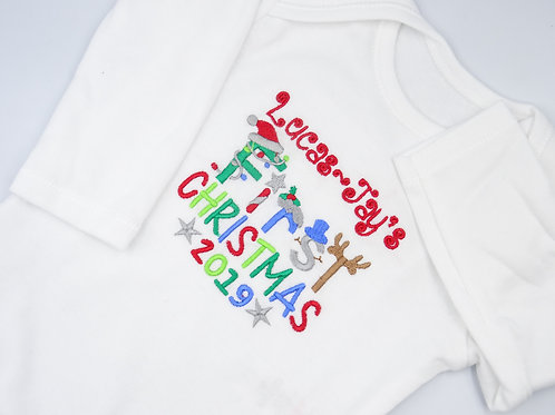 Personalised Boys Name First Christmas Long Sleeved Vest