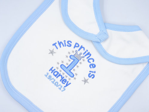 Personalised This Prince is 1 Birthday Bib