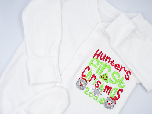 Personalised Name First Christmas with Tree, Santas and Star Sleepsuit