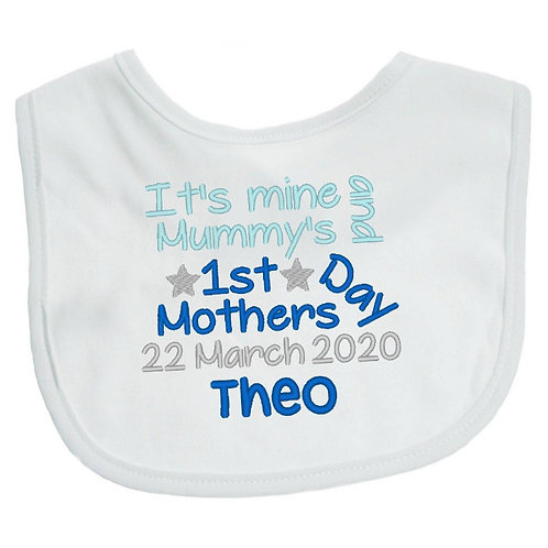 Personalised Embroidered It's Mine and Mummy's Mother's Day Baby Bib