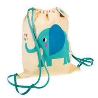 Personalised Embroidered Drawstring Bag - Elvis the Elephant - Add Na