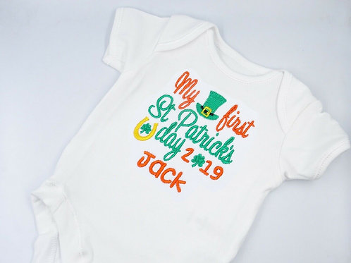 Personalised Embroidered My First St Patricks Day Baby Unisex Short Sleeved Vest