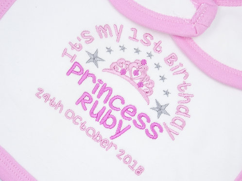 Personalised It's My 1st Birthday Princess Bib