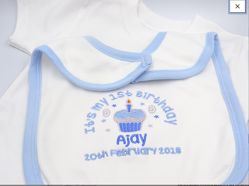 Personalised Embroidered Its My 1st Birthday - CUPCAKE DESIGN Clothing - Bib