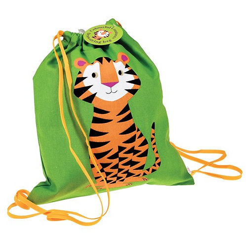 Personalised Embroidered Drawstring Bag - Tiger - Add Name