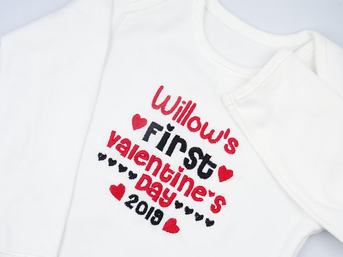 Personalised Embroidered Name's First Valentine's Day Baby Long Sleeved Vest